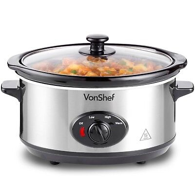 VonShef Slow Cooker 3.5L Removable Ceramic Pot Bowl Stainless Steel Keep Warm