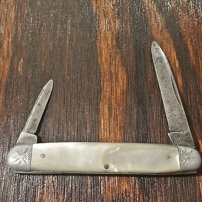 WATERVILLE KNIFE MADE IN USA MOTHER OF PEARL ANTIQUE OLD VINTAGE FOLDING POCKET