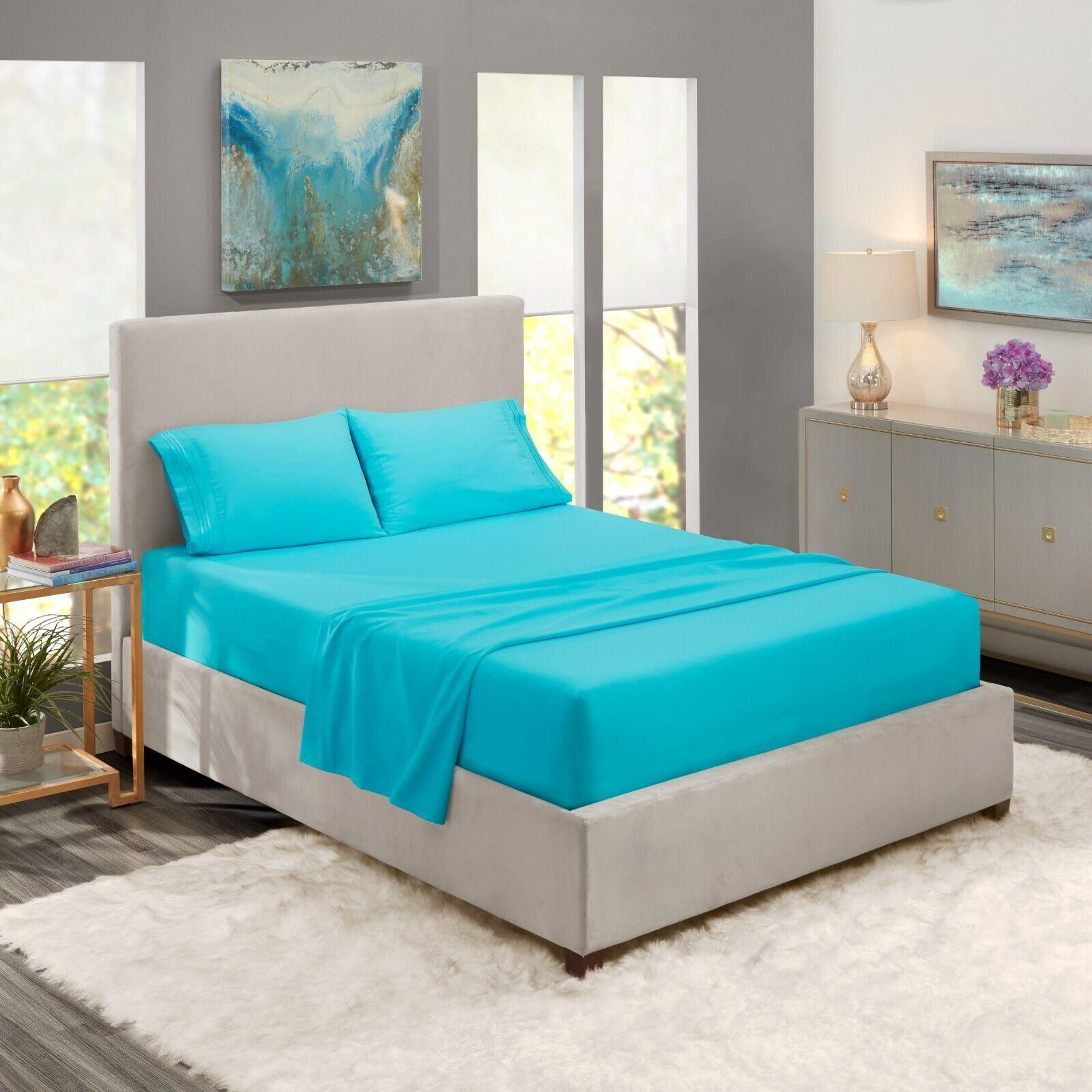 Egyptian Comfort 1800 Count 4 Piece Bed Sheet Set Deep Pocket Bed Sheets