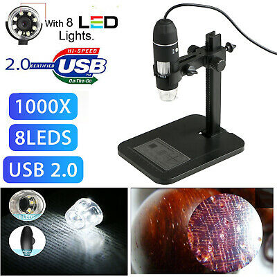 Usb Digital Microscope Endoscope 1000x 2mp 8led Magnifier Camera Lift Stand