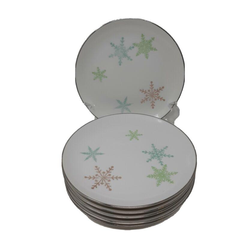 Vintage Harmony House Japan Snowflake Christmas Set of 6 Bread Plates