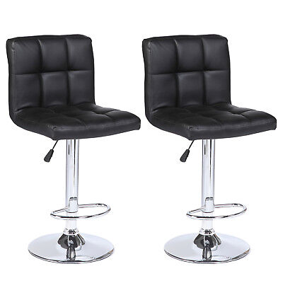 Set of 2 Counter Height Bar Stools Leather Adjustable Swivel Pub Chairs In -