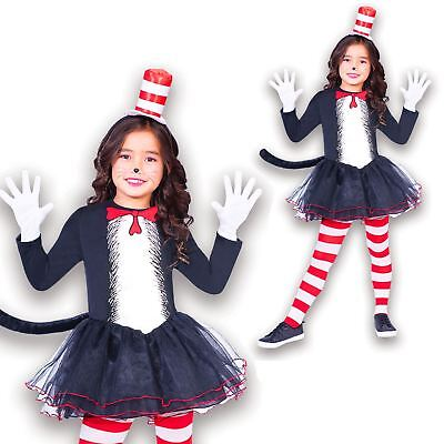 Cat In The Hat Costume For Girls (Girls Book Week Day Cat In The Hat Fancy Dress & Tights Party Costume Dr. Seuss)