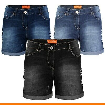Damen Jeans Shorts Destroyed Bermuda Stretch Hotpants Denim Kurze Hose - Damen Kurze Hose