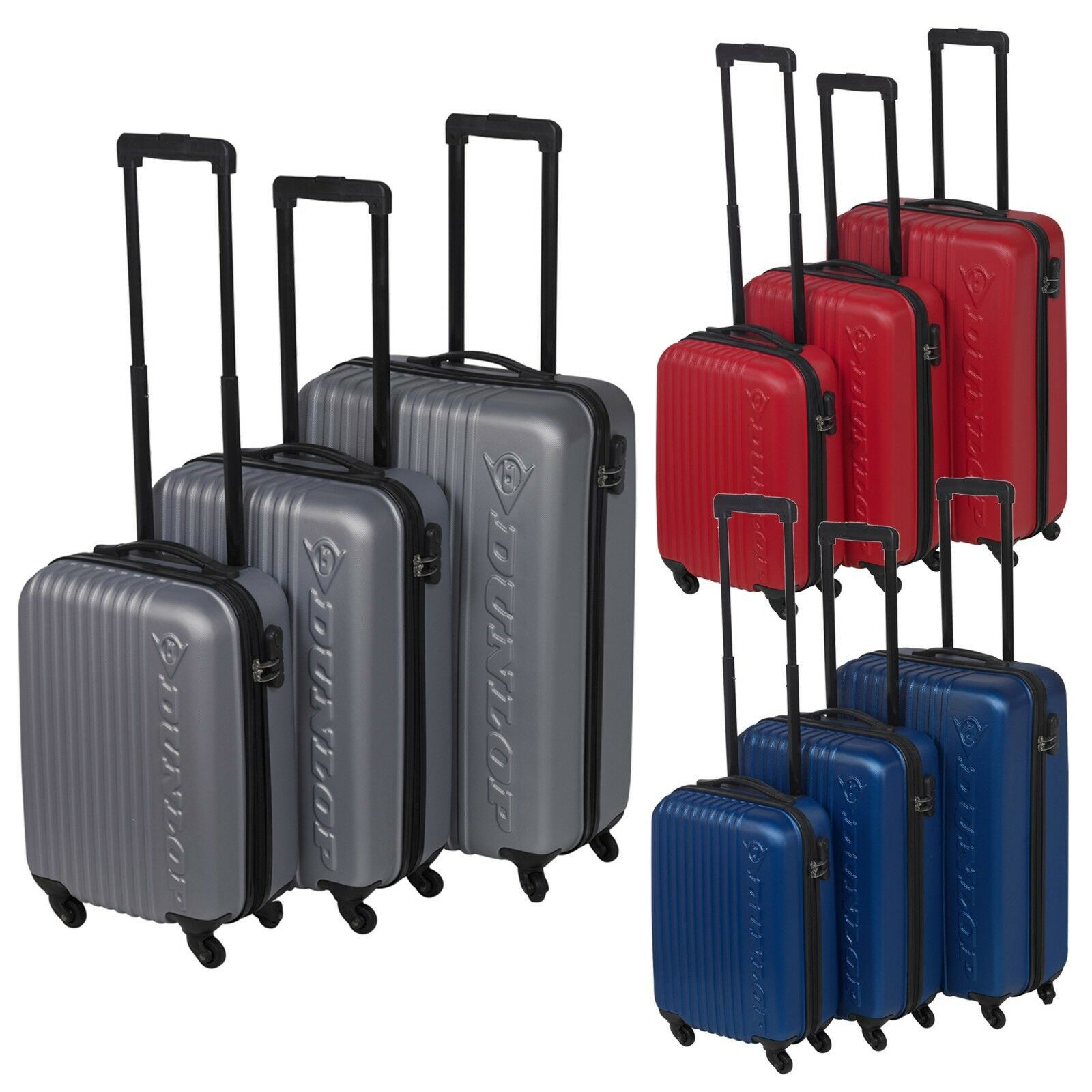 3 Dunlop ABS 4 Wheeled Spinner Suitcase Set Hard Shell Lugga