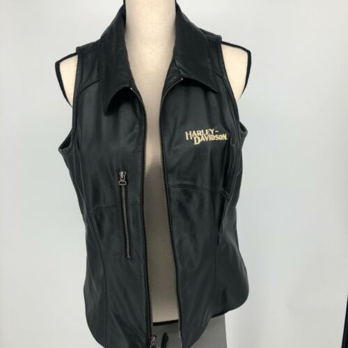 Harley Davidson Motorcycles Biker Black Leather Vest Full Zip WOMENS SIZE LARGE