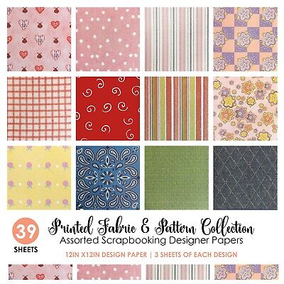 39pc ASSORTED PATTERN SCRAPBOOK PAPER 12x12 Printed Floral Holiday Design - Design 12x12 Printed Scrapbook Paper