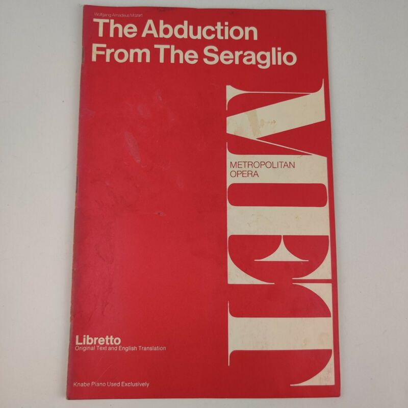 Vintage MET 2454 Metropolitan Opera Libretto Abduction From The Seraglio, Mozart