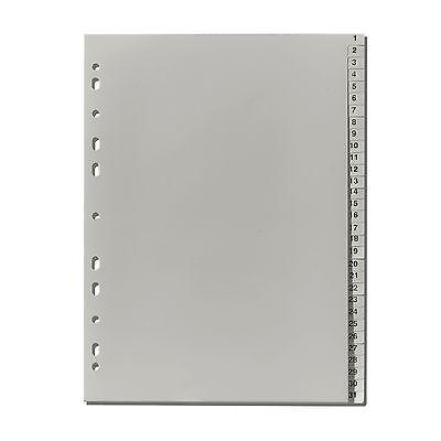Falken Plastik-Register 1-31 PP-Folie DIN A4 volle Höhe , Zahlenregister