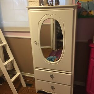 Girls white armoire wardrobe dresser
