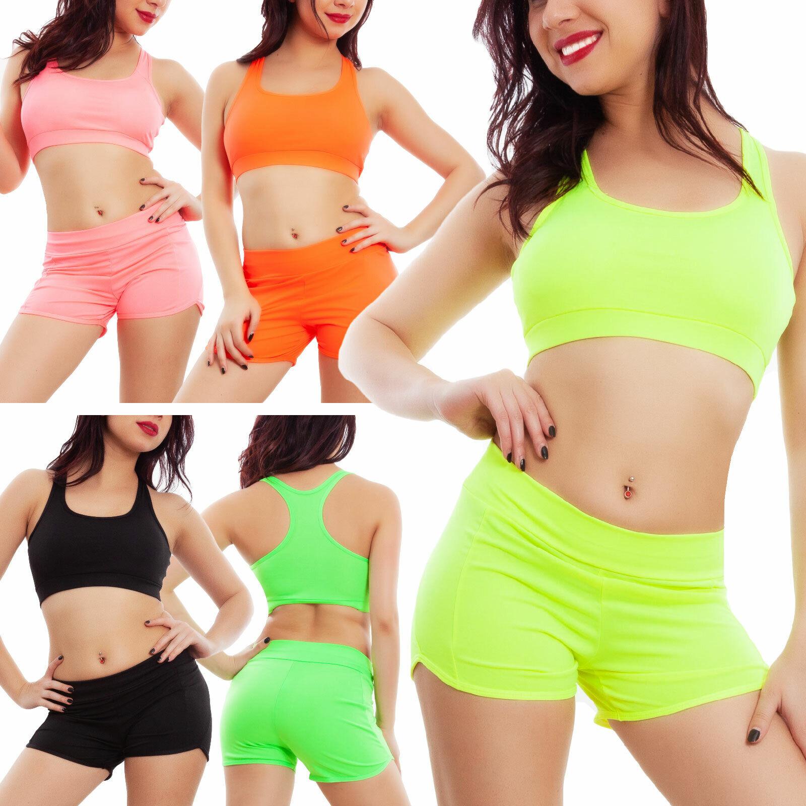 Completo Mujer Deportivo Colores Neon Top Shorts Cortos Toocool Hyx4571 Ebay