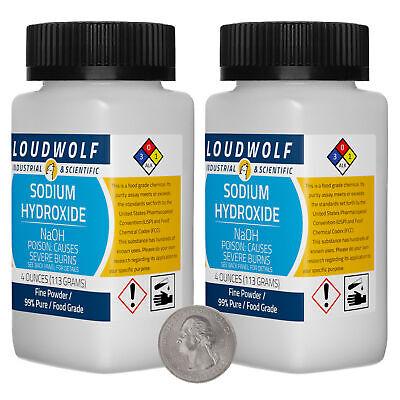 Sodium Hydroxide 8 Ounces 2 Bottles 99 Pure Food Grade Fine Powder