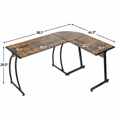 L-shaped Corner Desk Computer Gaming Desk Pc Table Writting Table Office Brown