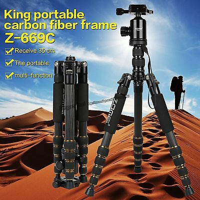 ZOMEI Tripod Z669C Portable Carbon Fiber Ball Head Monopod Tripod for Canera