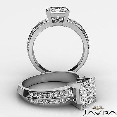 Micro Pave Bezel Set Princess Cut Diamond Engagement Ring GIA I Color VS2 1.3Ct