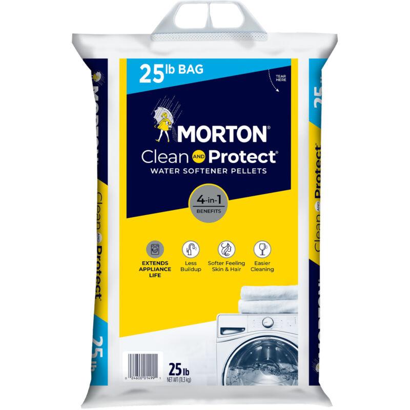 Morton F124990000G Clean and Protect Water Softener Salt Pellets, 25 lb Bag