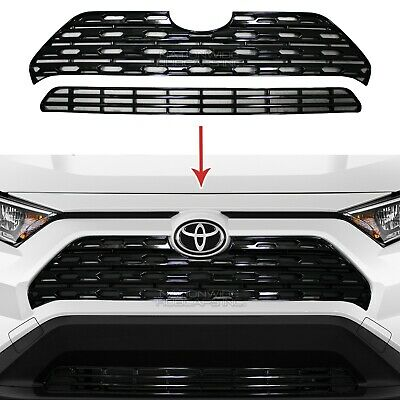 fits 2019 2020 Toyota Rav4 Gloss Black Snap On Grille Overlay Front Grill Cover