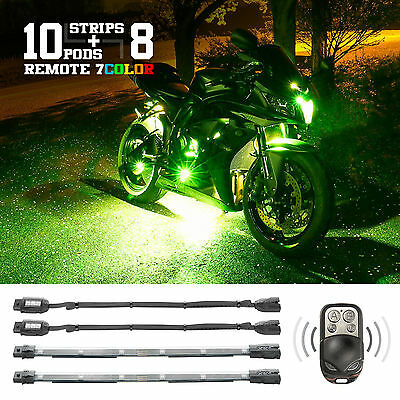 Remote 7 Color LED Motorcycle Accent Engine Light Kit with 10 pods 8 Strips