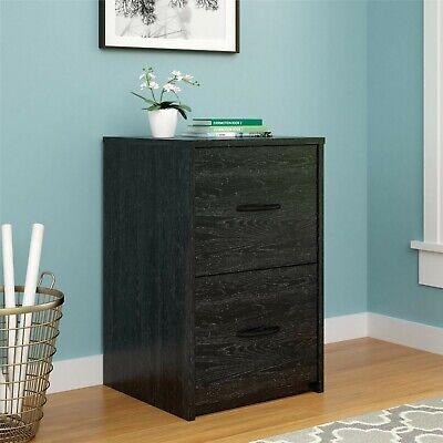 Ameriwood 2 Drawer Cabinet File Office Wood Storage Home Furniture Black Oak New