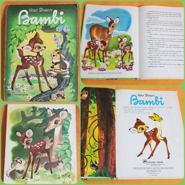 Bambi Big Golden Story Book 1941 Walt Disney Vintage Large Illust