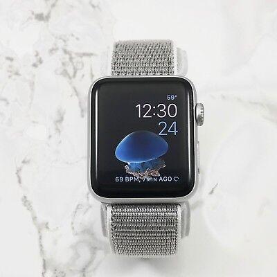 Apple Watch Gen 1 42mm Silver Aluminum Case Series 7000 White Nylon Loop