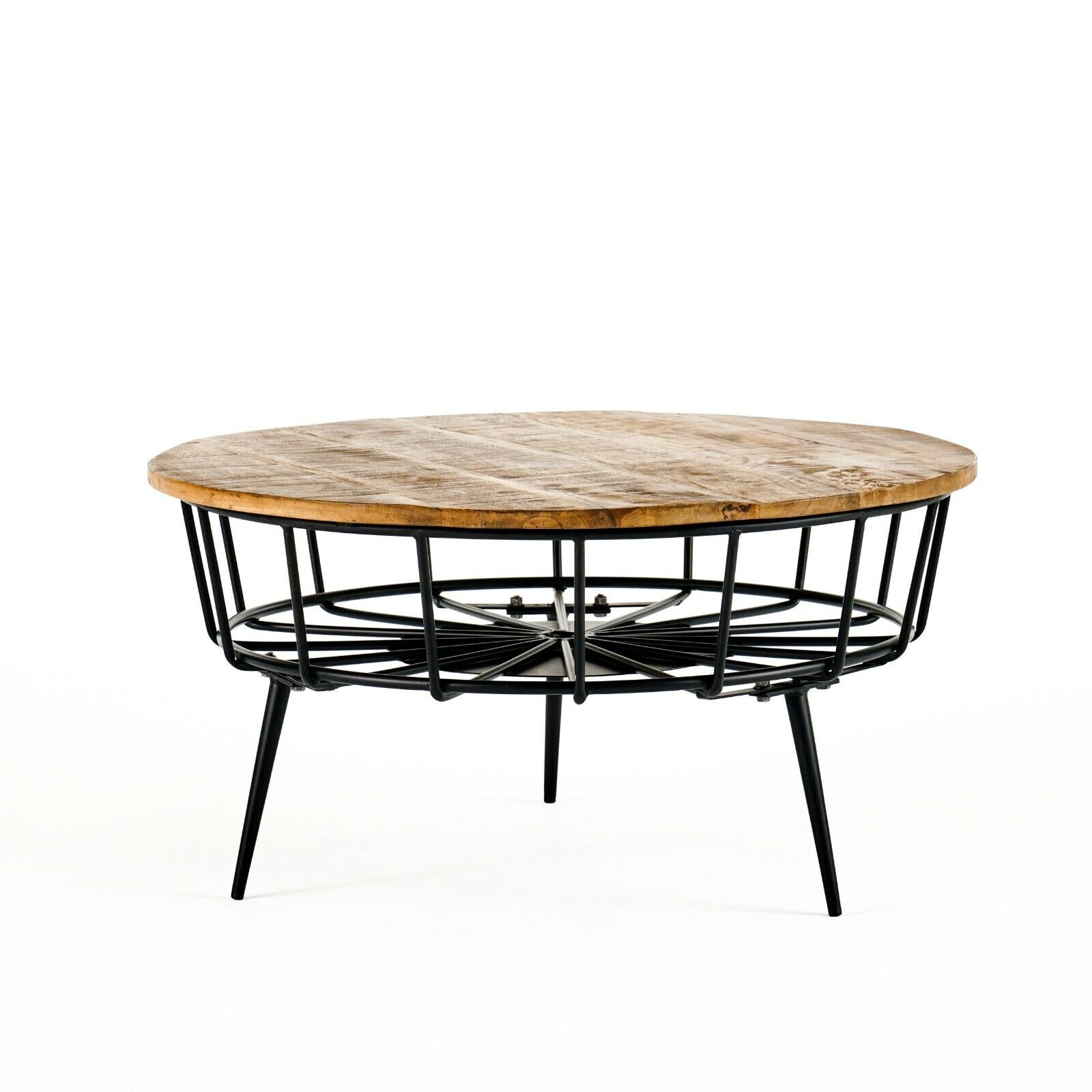 Tomilson Modern Industrial Handcrafted Mango Wood Coffee Table, Natural and Black