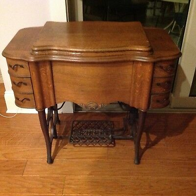 "Antique ""THE FREE"" Oak Treadle 6 Drawer Sewing Machine Cabinet w/ Cast Iron base"