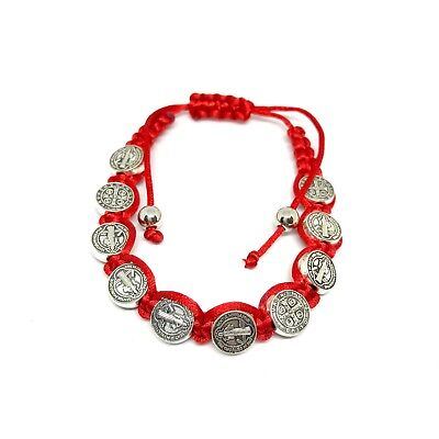 Saint St Benedict Medal on 8 Inch Adjustable Red Cord Bracelet Evil...