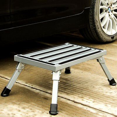 Folding Aluminum Platform Step Stool RV Trailer Camper Working Ladder -