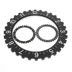 USA Large Industrial Black Metal Gear Wall Clock Mechanical Moving Gear Clock