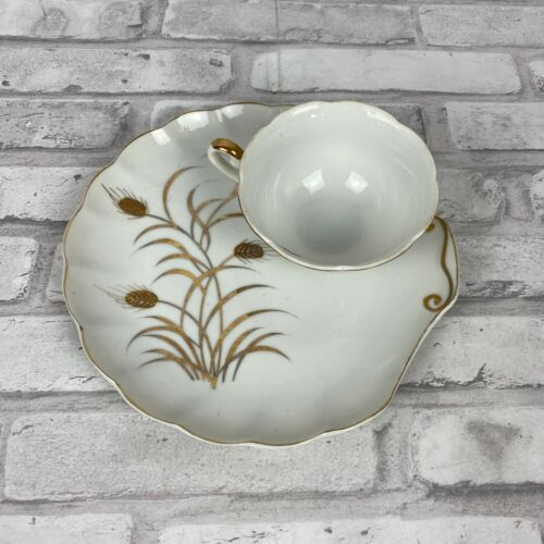 Lefton China Snack Plate and Cup Handpainted Gold Guild Wheat Set of 2