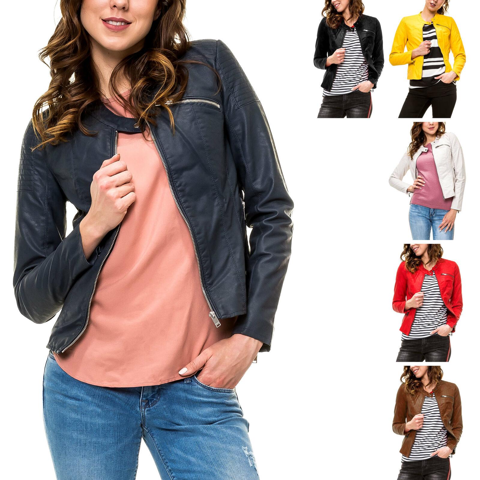 Only Damen Bikerjacke Kunstlederjacke Damenjacke PU Jacke mit Stehkragen