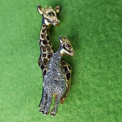 Momma Girafe w/Baby Enamel and Metal Brooch with Rhinestones Clear Crystals](Baby And Mom Costumes)