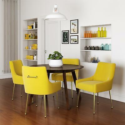 Novogratz Huxley Accent/Dining Chairs, Set of 2, Mustard Yellow Velvet