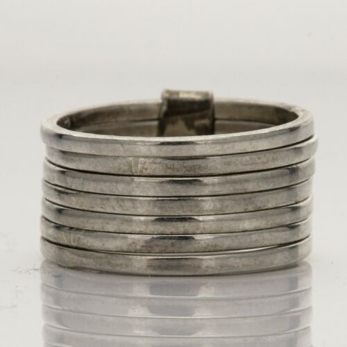 Vintage Taxco V-R5 Mexico Sterling 7 Stacked Articulating Bands Ring Size 6