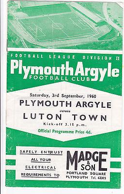 PLYMOUTH ARGYLE V LUTON TOWN LGE DIV 2 3/9/60