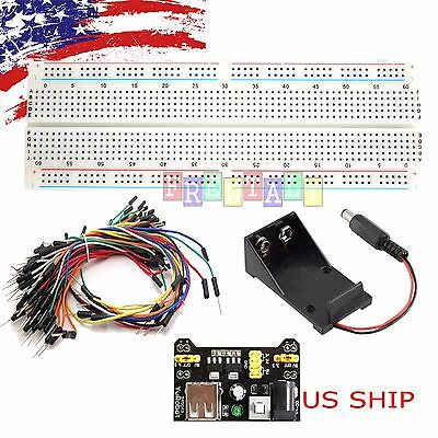 MB-102 830 Breadboard & Battery Holder & 65pcs Jump Cable Wires & Power Supply