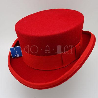 CLASSIC Wool Felt Men Tuxedo Top Hat Coachman Victorian Topper  | Red | M L (Classic Red Felt Hat)