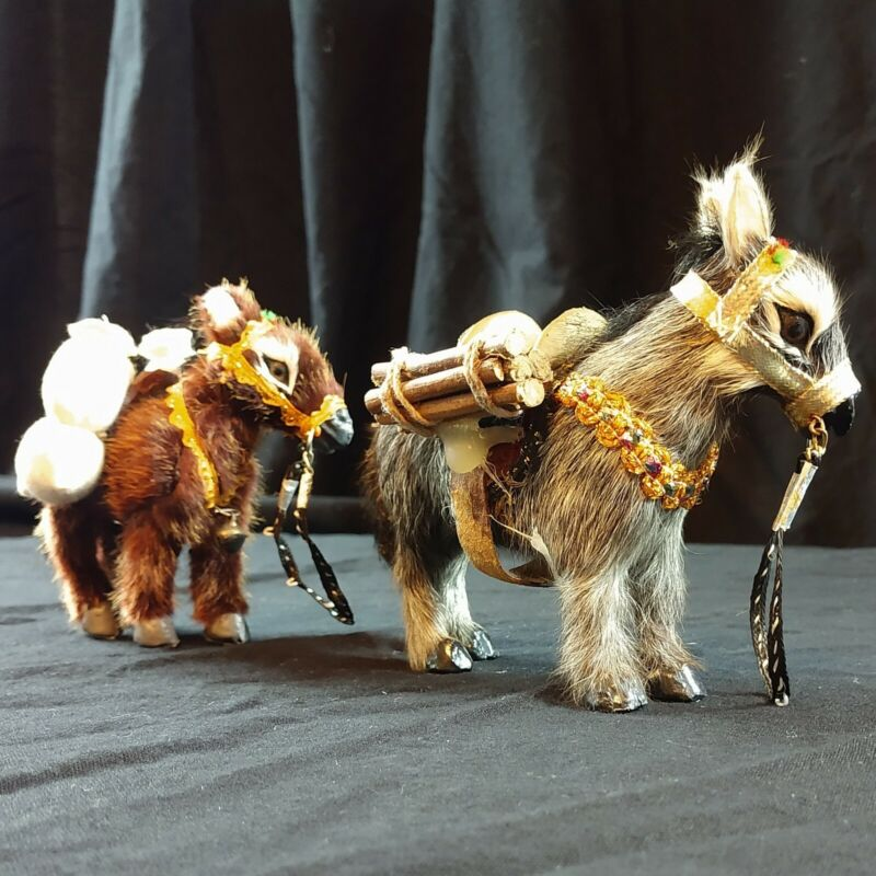 Vintage Collectible Faux Fur Burros Donkeys Figurine SO. CUTE.
