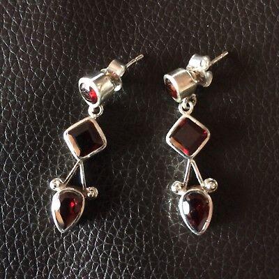 Silber Ohrringe 925 Echtsilber Granat punziert NEU wunderschönes Geschenk