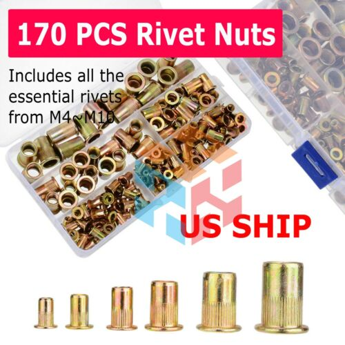 170pcs Rivet Nut Kit Zinc Steel Rivnut Insert Nutsert Open End Threaded M3-M10