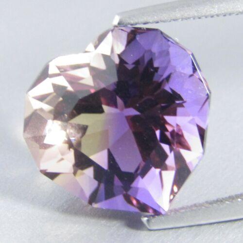 8.21Cts Wide-Eyed Natural Ametrine 13x13.3x9.5mm Heart Custom Cut Gemstone--VDO!