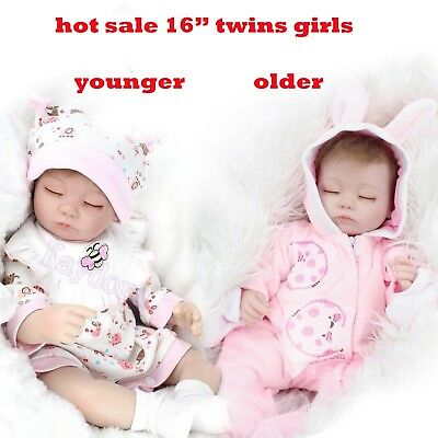 "2 Pcs 16"" Sleeping Twins Girl Reborn Baby Doll Lifelike Preemie Silicone Gifts"