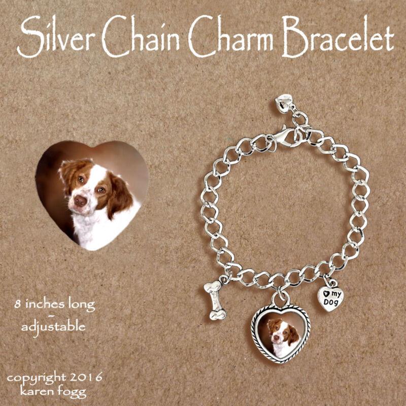 BRITTANY SPANIEL DOG - CHARM BRACELET SILVER CHAIN & HEART