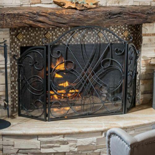 Rosalinda Black Silver Finish Floral Iron Fireplace Screen Fireplace Screens & Doors