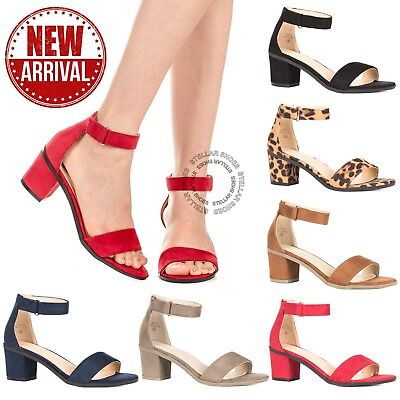 New Women's Ankle Strap Chunky Pump High Heel Sandals Party Dress Open Toe Shoes ()