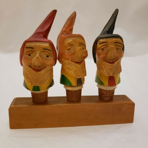 VTG German Cork Stoppers Pourers Hand Carved Wood Elves Gnomes 3 Pc Set + Stand