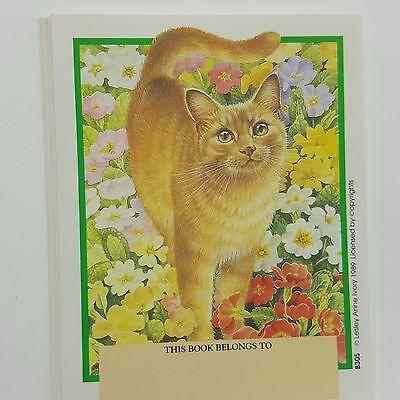 Antioch Cat Kitten Book Plates Lot 15 Lesley Artist Ivory 1989 Flowers Garden
