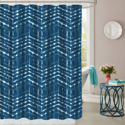 Monroe Blue Zig Zag Pattern Geometric Fabric Bathroom Shower Curtain 70″x72″ Bath