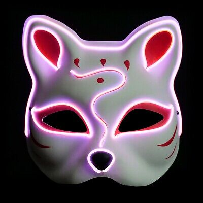 Halloween Edm Parties (Kitsune Fox LED Lighted Mask (Halloween, EDM, Cosplay, Rave, Party,)